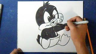 Cómo dibujar al Pato Lucas Bebé | How to draw Lucas duck baby