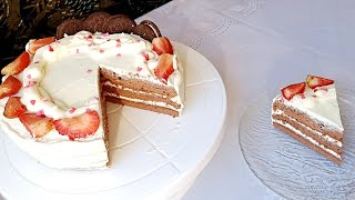 Шоколадный торт Бисквитный торт с кремчиз Шоколадты торт жасау