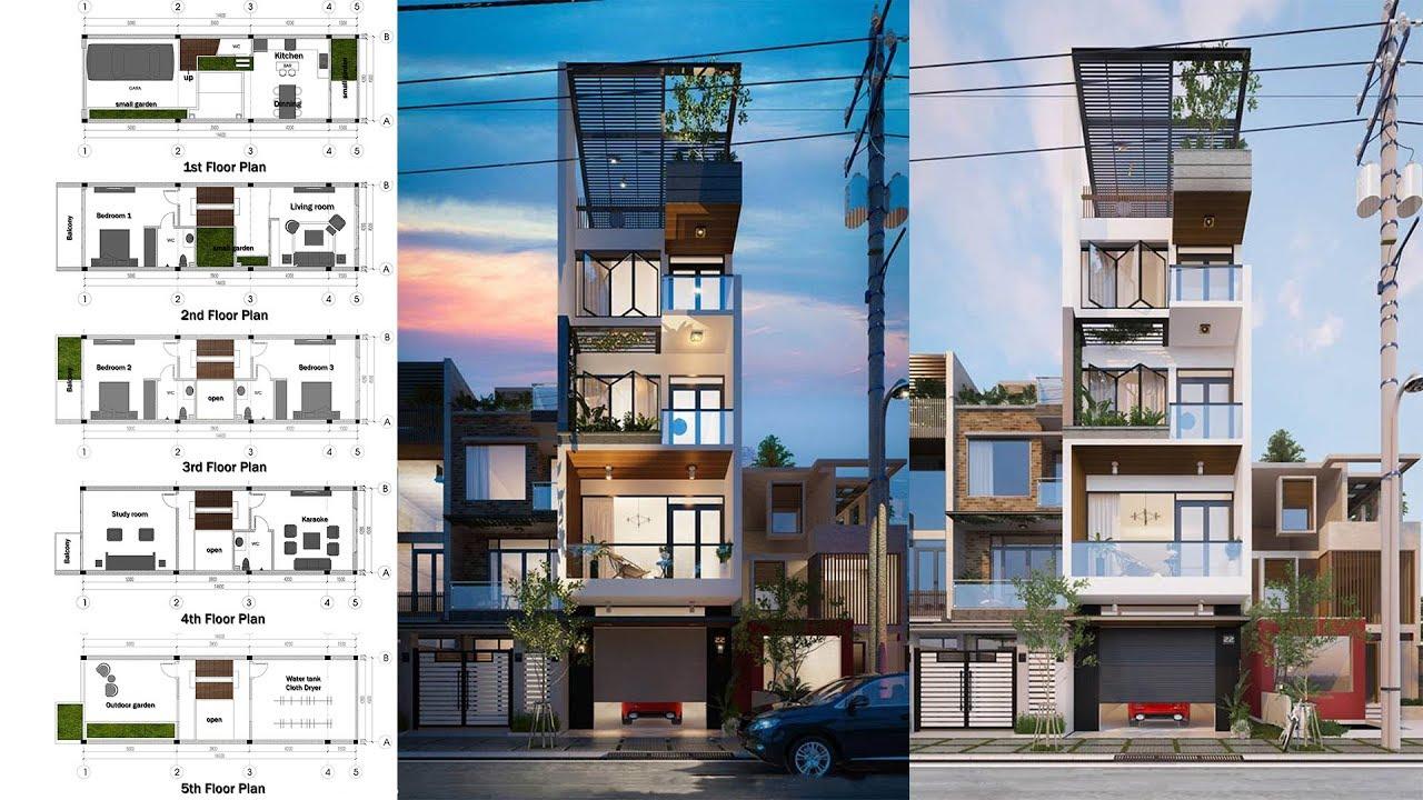 Narrow Lot Luxury House Plan 45x146m