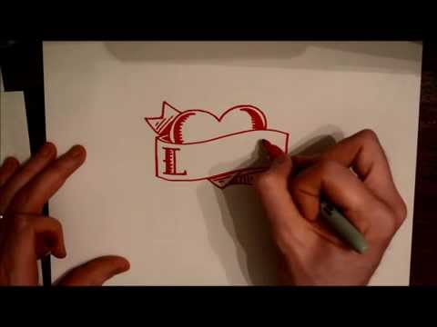 How To Draw Heart Tattoo With Banner And Name Or Word