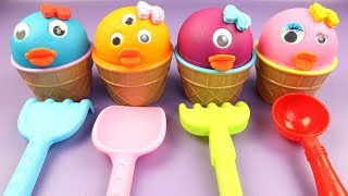 DIY How To Make 4 Colors Little Duck Ice Cream with PlayDoh | Toy Story 4 Surprise Toy Surprise Eggs