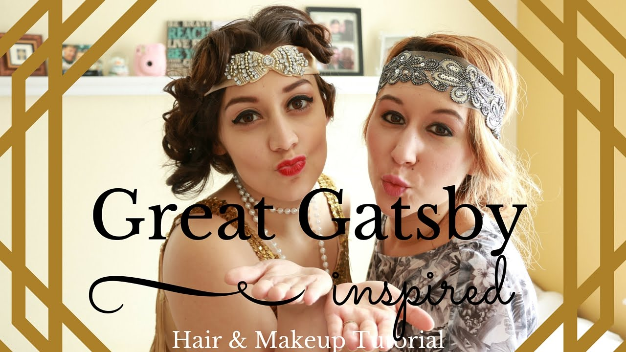 Great Gatsby Inspired Makeup Hair Tutorial Long Hair 20 S Style Youtube