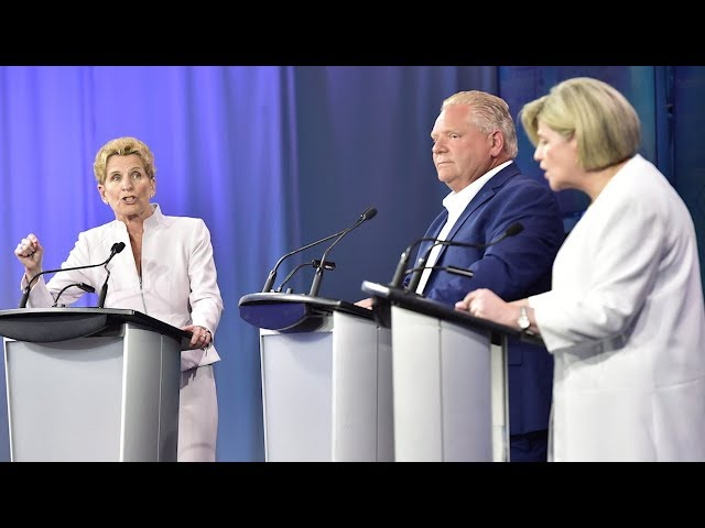 Ontario NDP Leader Andrea Horwath and Liberal Leader Kathleen Wynne are criticizing Doug Ford's Tories for not releasing a full platform ahead of June's provincial election. The leaders spoke to reporters after Sunday's debate. (The Canadian Press)