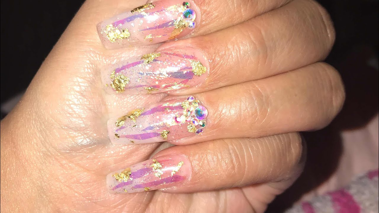 Acrylic Nails Full W/ Foil And Holographic Strips - YouTube