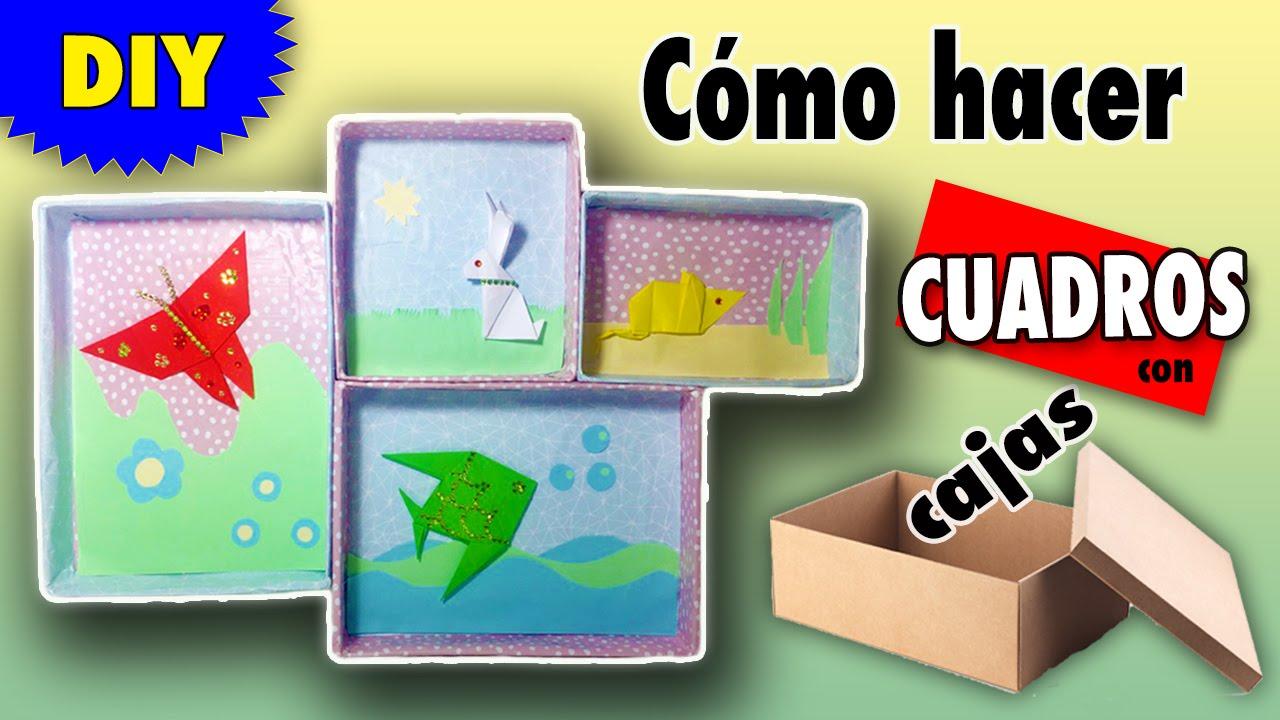 Cuadros decorativos con cajas manualidades de reciclaje - Como reciclar para decorar ...