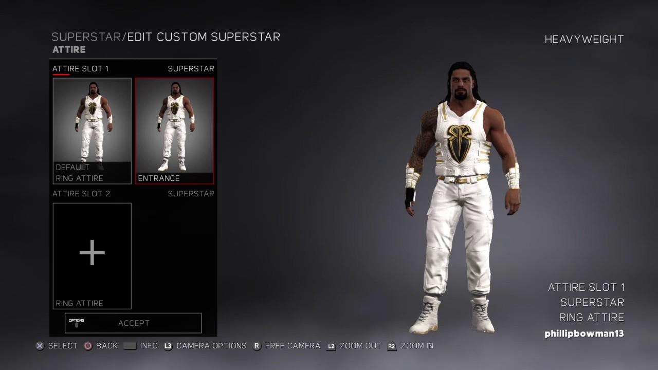 faed79abb3 WWE 2K17 Roman Reigns White Gold Attire - YouTube
