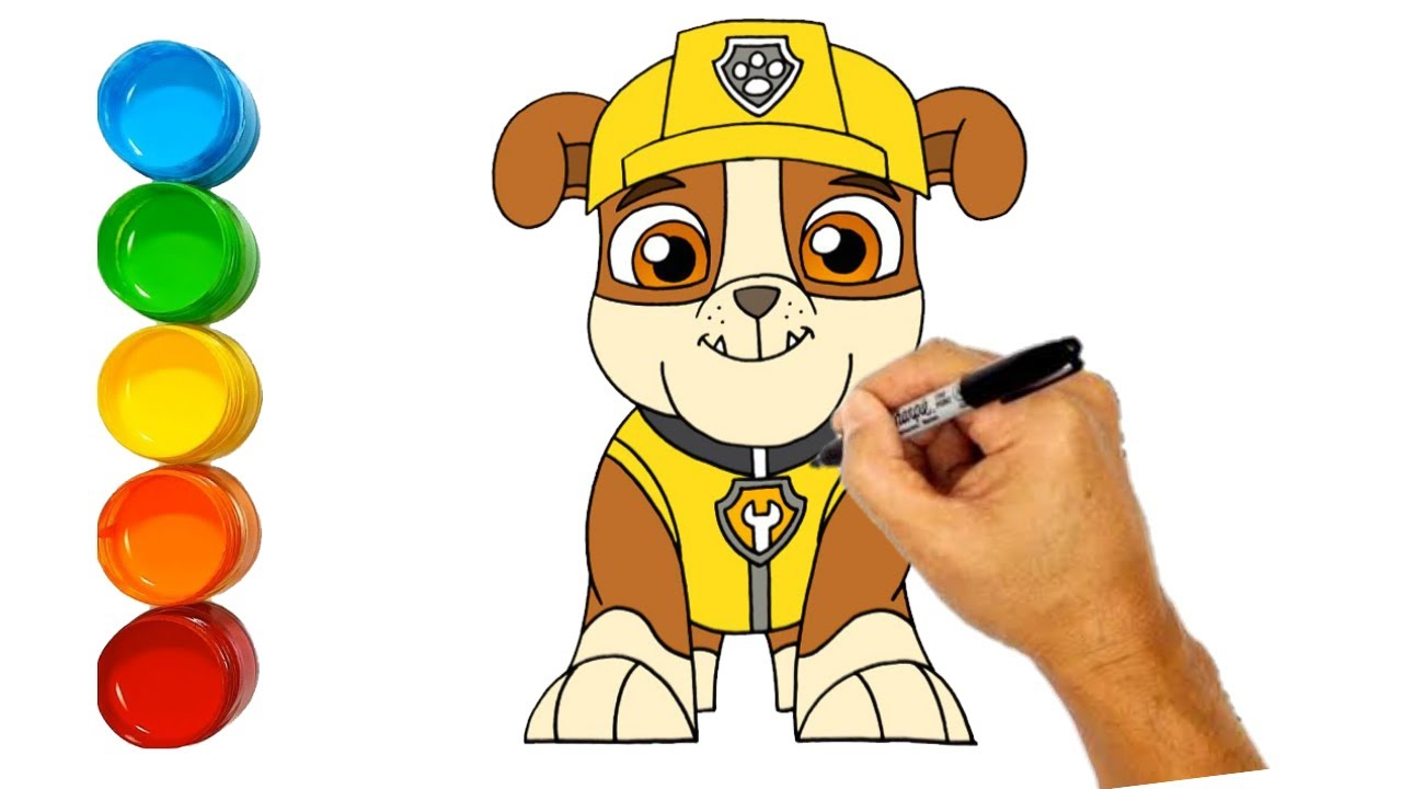 Drawing Rubble from Paw Patrol | How to draw Rubble and Colouring | Colouring Academy