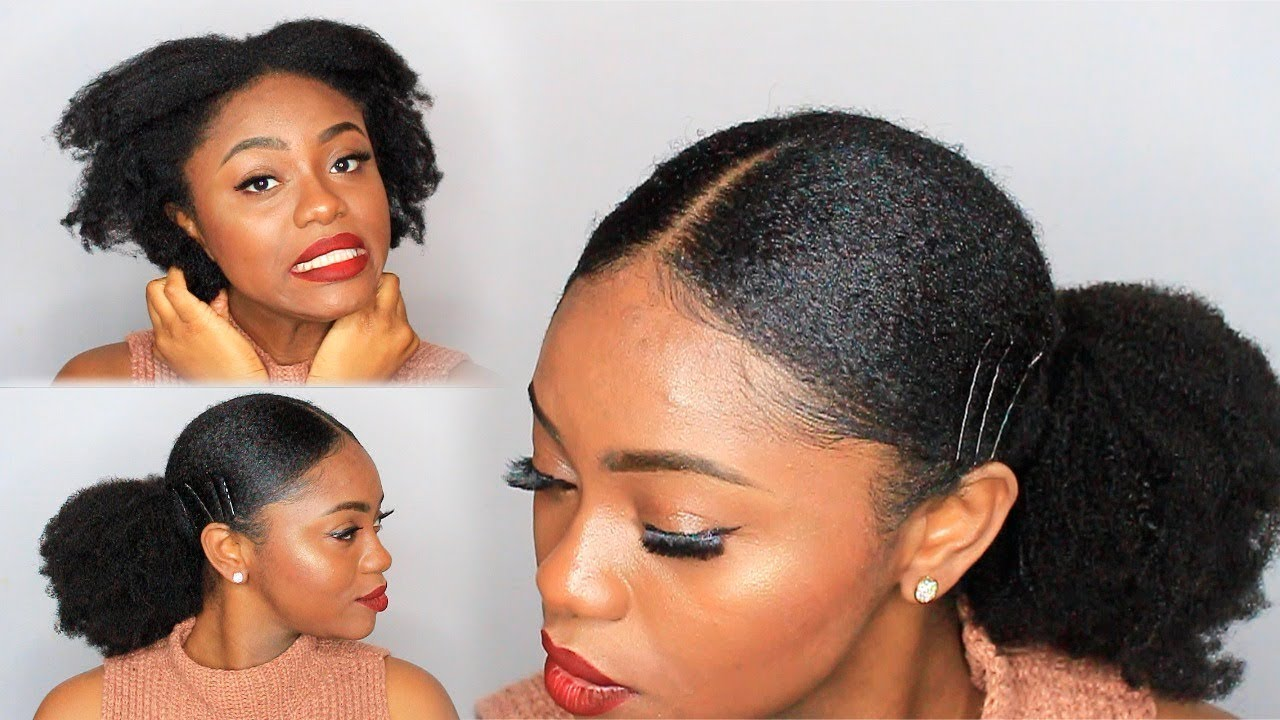 Natural Hair Sleek Low Ponytail On 4c Hair W Extensions Youtube