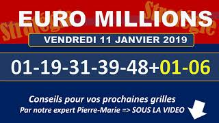 EUROMILLIONS NUMEROS GAGNANTS TIRAGE VENDREDI 11 JANVIER 2019