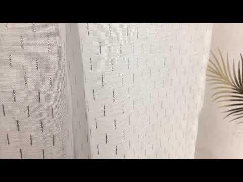 Ösengardine Batistoptik gestrichelt weiß silberfarbig 135x260cm