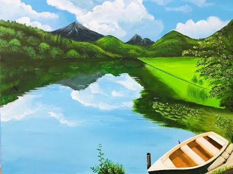 ACRYLIC PAINTING TUTORIAL -Step By Step –  Landscape for Beginners- PART 1