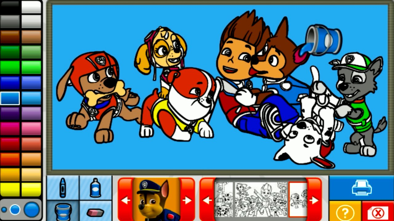 PAW PATROL Coloring Game Page  Lets Color and Play  YouTube