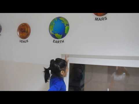 Solar system planets with Ananya at The Shriram Universal School