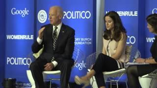 Politico events editor lois romano moderates a conversation with vice president joe biden and his daughter ashley biden, executive director of the delaware c...
