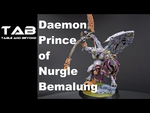 Daemon Prince of Nurgle bemalen Tutorial Warhammer40k ger Airbrush Conversion tab table and beyond