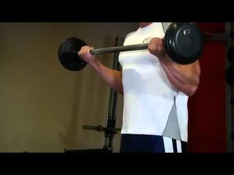 Biceps - Wide-Grip Standing Barbell Curl Exercise Guide ...