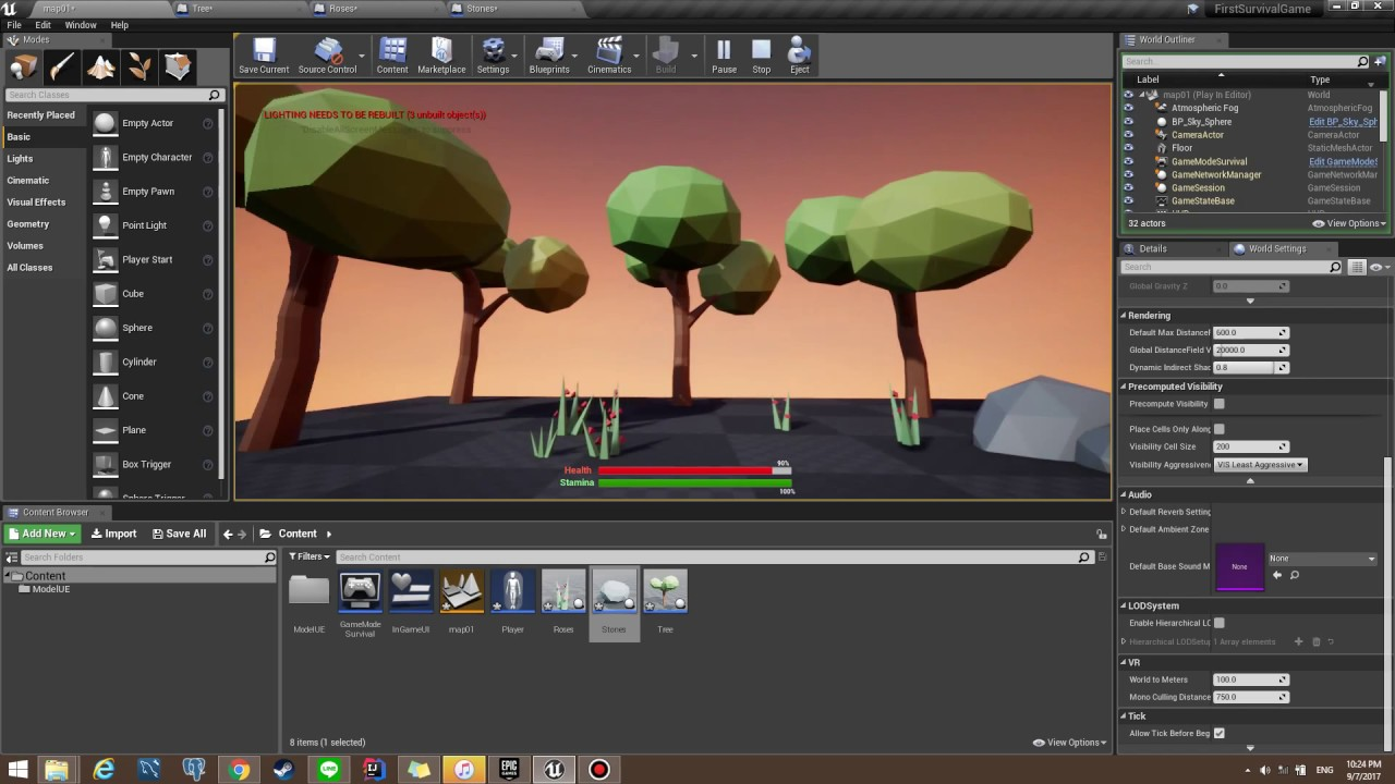 Unreal Engine 4 Random Scale Rotation and Color Object (Trees,Grass,Rock)