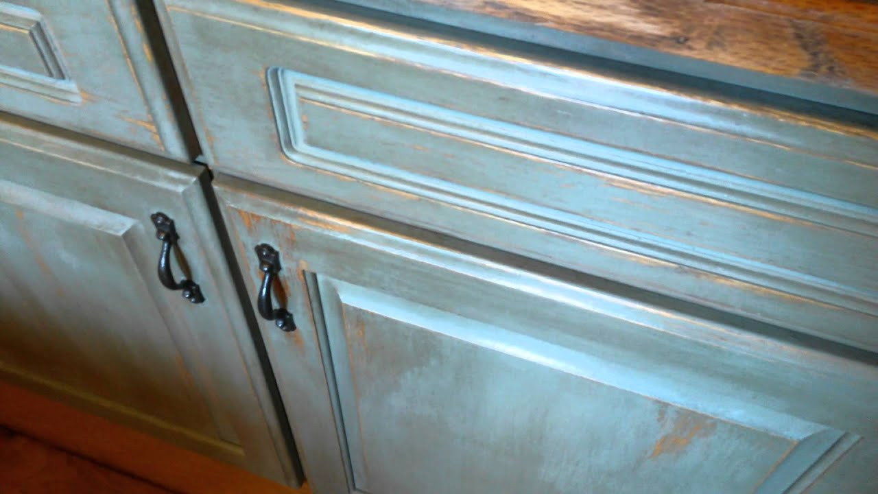 Cabinets chalk paint distressed... - YouTube