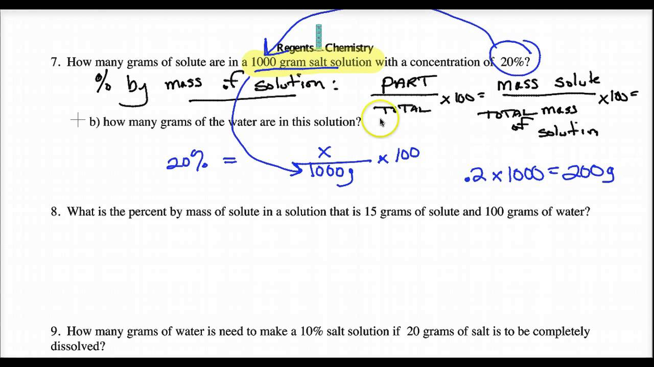 Molarity percent by mass ppm simple calculations YouTube – Molarity Calculations Worksheet