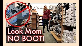 LOOK MOM NO BOOT!  SHOPPING FOR NEW WALKING SHOES