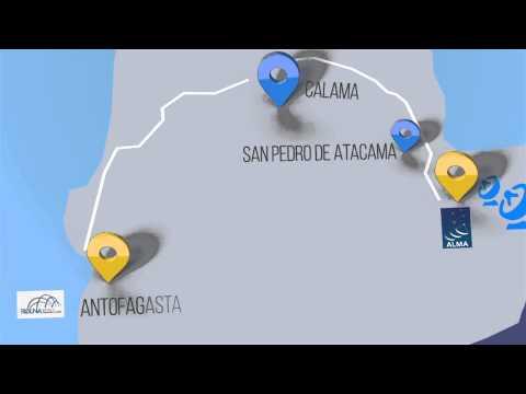 アルマ望遠鏡山頂施設からサンティアゴまでのネットワーク経路 / Optical fiber network between ALMA and Santiago