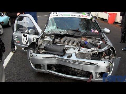Cadwell Park Clio Pit wall crash HANS device