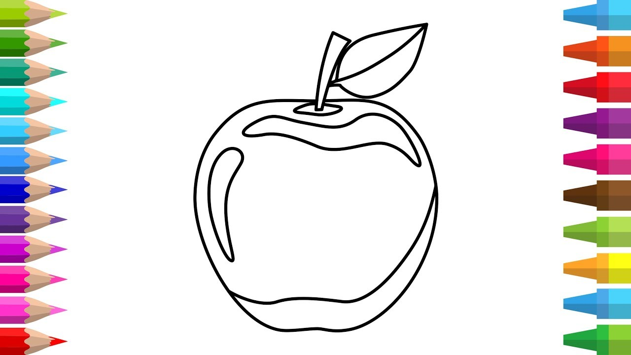 How To Draw An Apple Step By Step Drawing Lessons For Kids Coloring Pages For Kids Sketch C4D