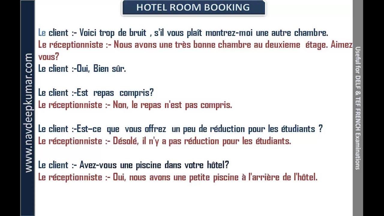 reservation of hôtel conversation