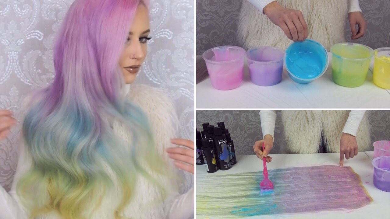 Dying Hair Extensions Pastel Rainbow Youtube