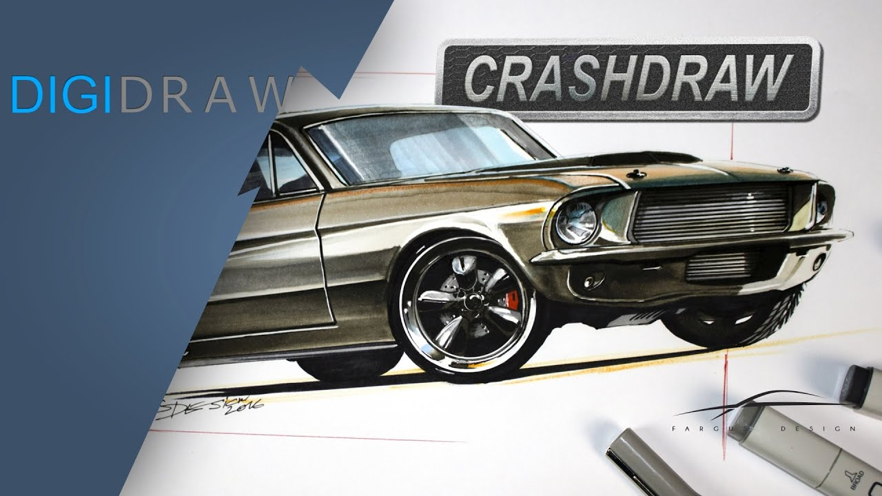 Ideal Ford Mustang Chip Foose style designsketch, Overhaulin' style  II48