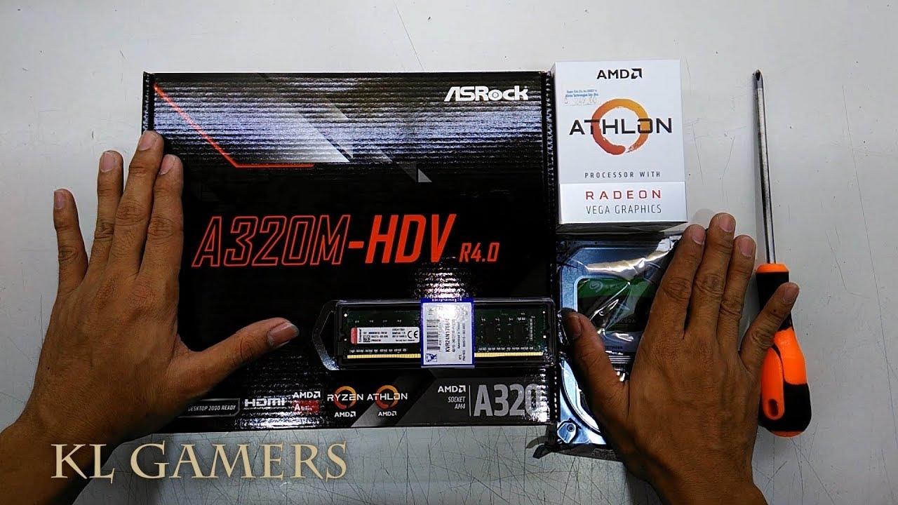 AMD Athlon 200GE with VEGA Graphics ASRock A320M-HDV R4 0 4GB RAM 1TB HDD  Budget Build 2019