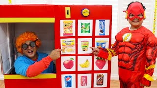 Alex Pretend Play as Superheroes & Plays with Vending Machine Fun Toy for Kids