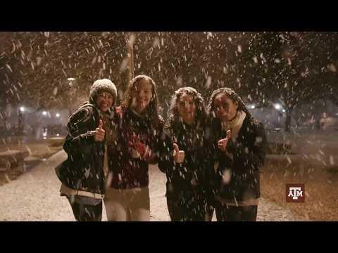 Snow Falls on Texas A&M University