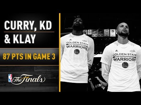 Durant, Curry, Thompson Combine For 87 In Game 3