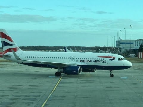 BA Flight 855  Prague to London A320 (Beautiful Landing in Windy Weather)