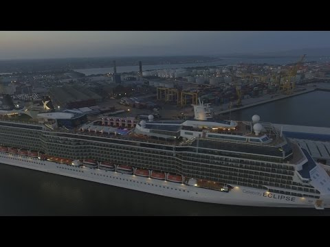 Celebrity Eclipse Cruise Ship - drone overlooking  Dublin Port and the river liffey