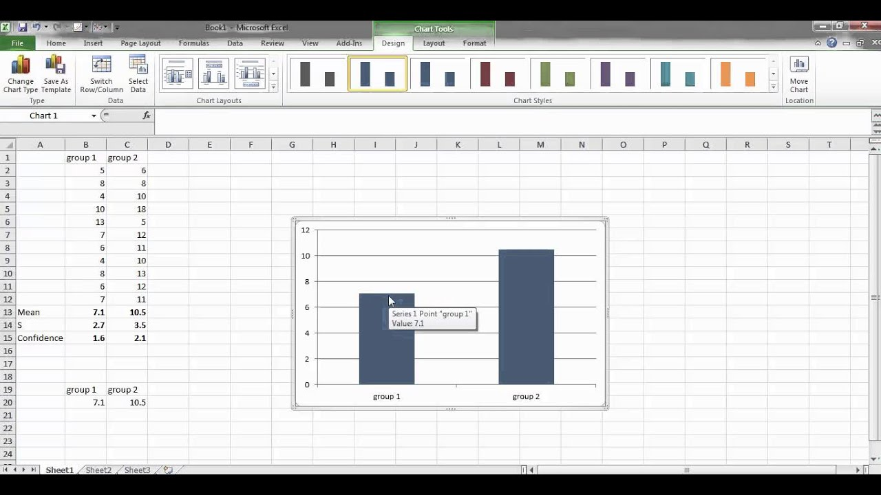 how to create confidence interval graph in excel