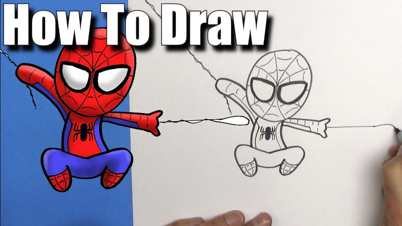 How to draw spiderman easy chibi step by step