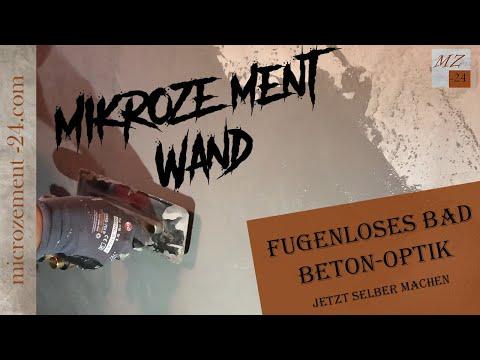 Mikrozement / Microzement auf Wand auftragen.