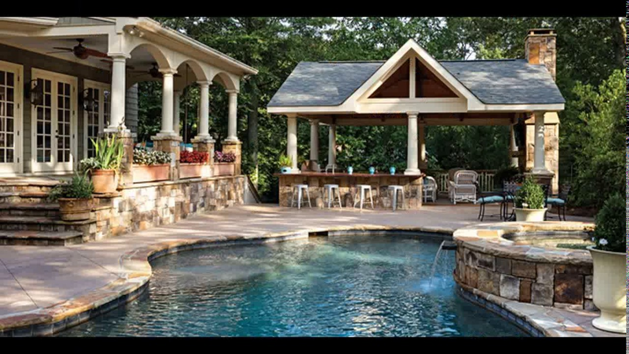 Backyard designs with pool and outdoor kitchen - YouTube on Outdoor Kitchen By Pool id=67360