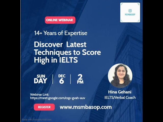 IELTS Session by Ms. Hina Gehani - 12+ Years Experience
