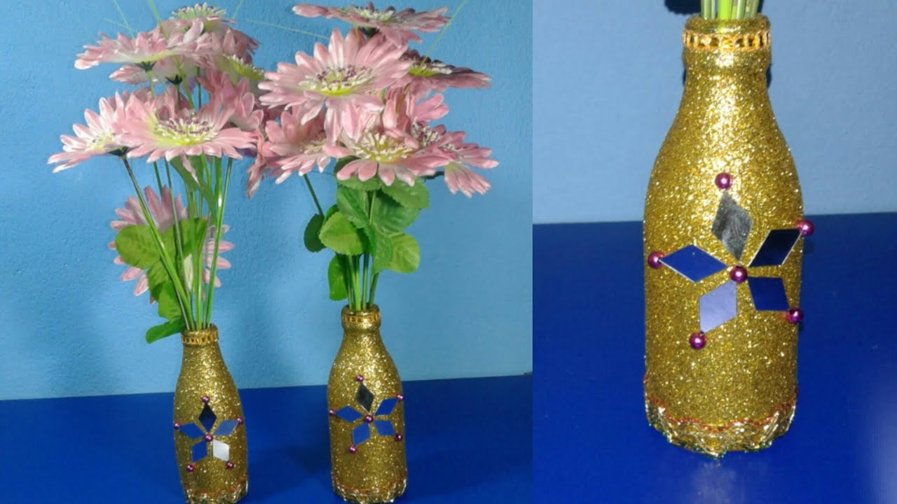 Diy Waste Glass Bottle Decoration Easy Craft Ideas Youtube