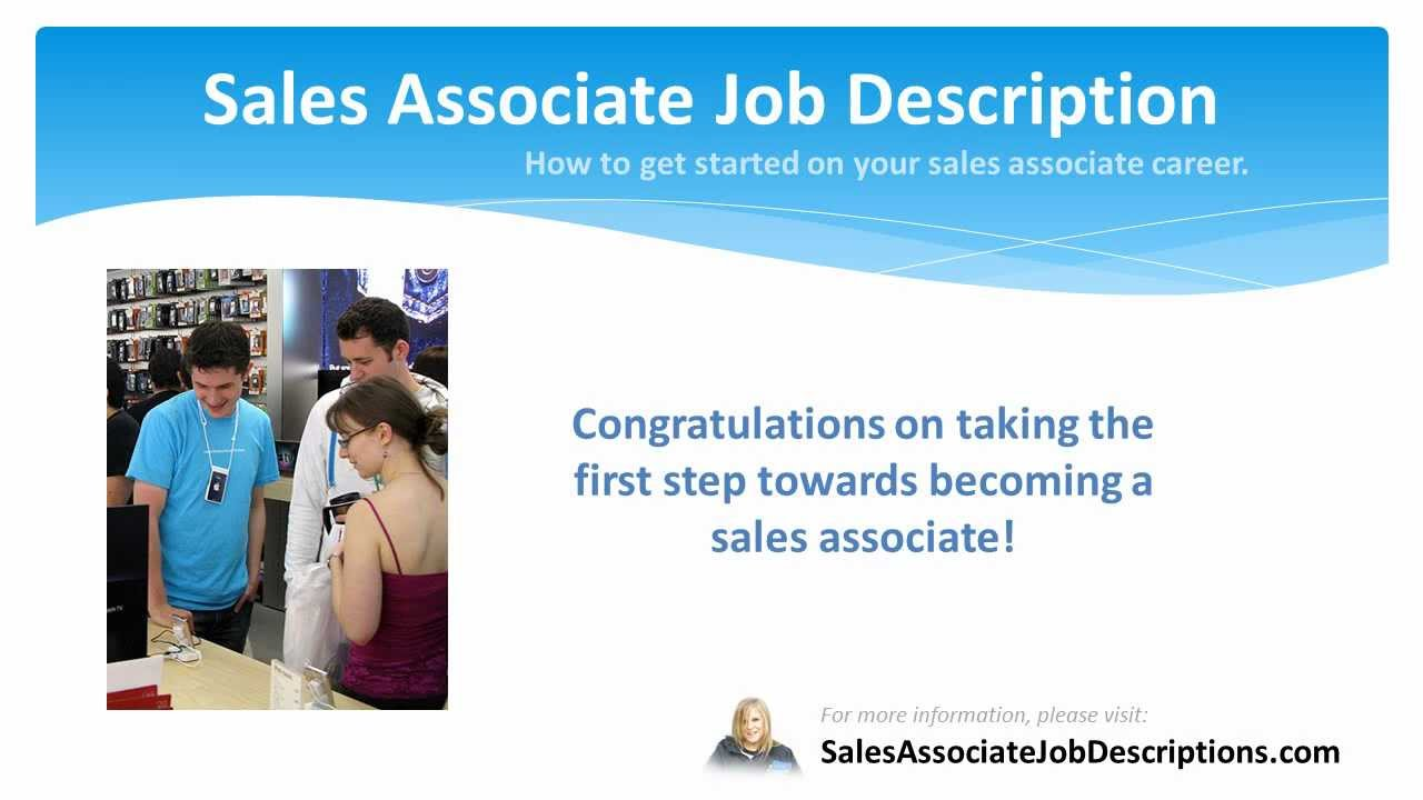 Sales Associate Responsibilities S Associate Job Description Sample