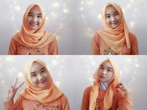 How to wear square hijab   cara simple memakai hijab paris segiempat