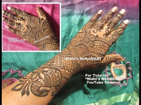 Bridal Mehndi Full Hand Designs : Full hand traditional bridal wedding henna mehndi design tutorial