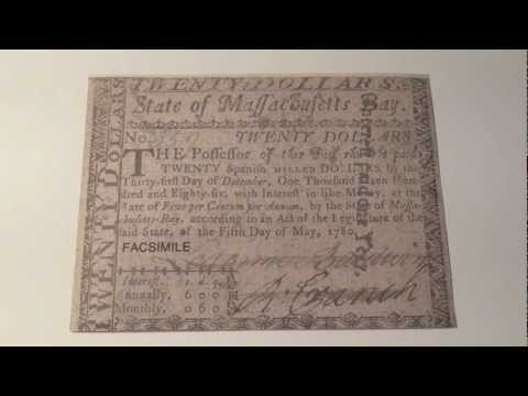 1780 Colonial America $20 State of Massachusetts Bay Note