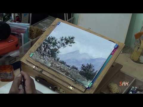 رسم الطبيعة بالألوان المائية – watercolor landscape paintings