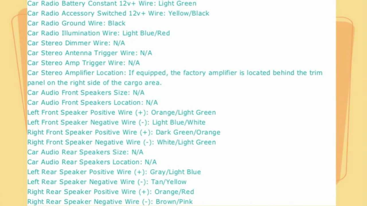 ford explorer stereo wire diagram 1998 to 2005  YouTube