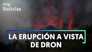 El lento avance de la LAVA del VOLCÁN DE LA PALMA, a vista de dron | RTVE Noticias