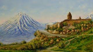 Горный пейзаж Армении маслом - How to draw mountains. Andrew Pugach